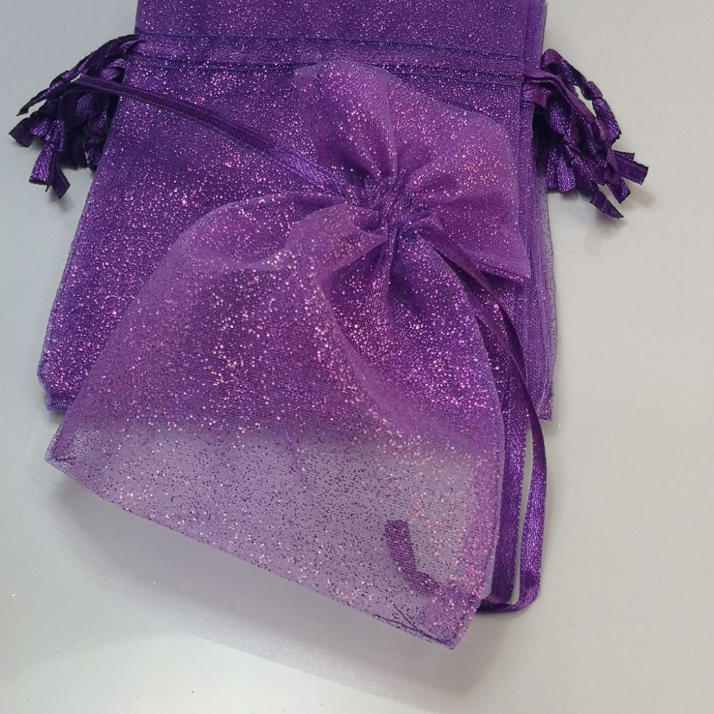 "Glitter Purple  Organza Bags | 3.5"" x 4.5"" 